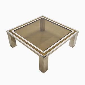 Italian Brass & Chrome Coffee Table, 1970s
