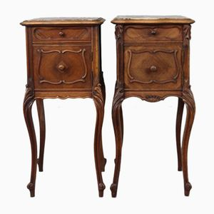 Antique French Bedside Cabinets, Set of 2