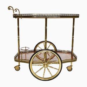 Französischer Vintage Servierwagen aus Messing & Holz