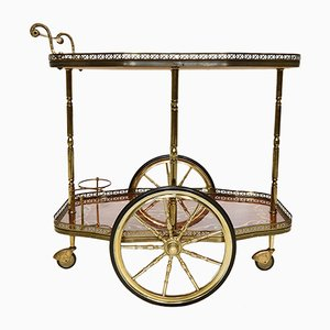 Vintage French Brass and Wood Bar Trolley
