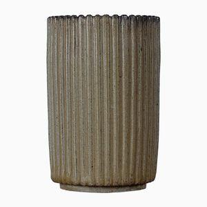 Geriffelte Mid-Century Keramik Vase von Arne Bang