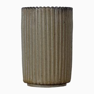 Mid-Century Fluted Ceramic Vase by Arne Bang