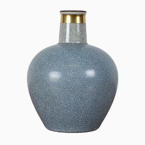 Vase Mid-Century avec Verni Bleu Craquelé de Royal Copenhagen