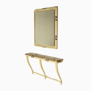 Mid-Century Italian Wood & Marble Console & Mirror