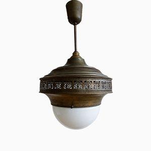 Lampe à Suspension Art Déco en Laiton et Verre Opalin, 1920s