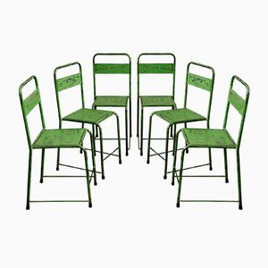 Metal Bistro Chairs, 1950s, Set of 6