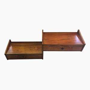 Danish Rosewood Wall-Mounted Bedside Tables, 1960s, Set of 2