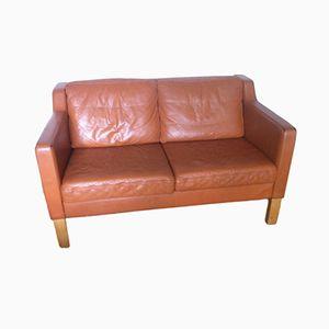 Danish Tan Leather Sofa by Borge Mogensen, 1960s