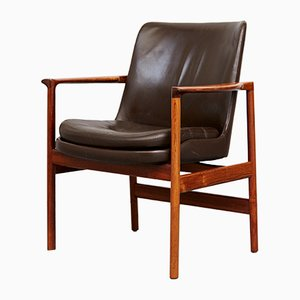 Mid-Century Rosewood Armchair by Ib Kofod Larsen for Carlo Gahrn
