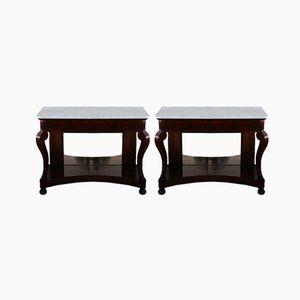 Antique French Console Tables, 1830s, Set of 2