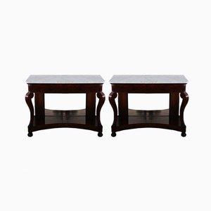 Tables Consoles Antiques, France, 1830s, Set de 2