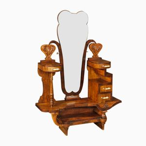 Italian Cheval Mirror in Walnut, 1930s
