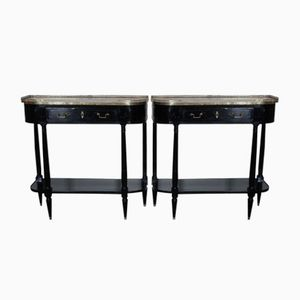 Napoleon III Ebonised Console Tables, 1880s