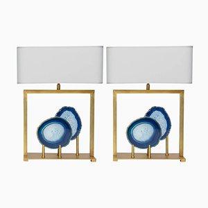 Lampes de Bureau en Laiton et Agate Bleue par Glustin Luminaires, Set de 2