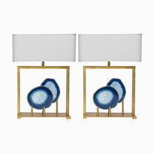 Table Lamps in Brass and Blue Agate by Glustin Luminaires, Set of 2