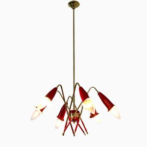 Italian Brass & Lacquered Metal Chandelier, 1950s