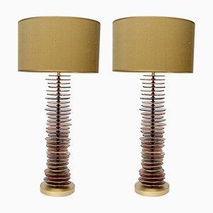 Lampes de Bureau en Laiton & Agate par Glustin Luminaires, Set de 2