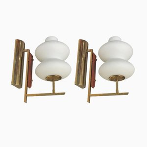 Vintage Italian Brass and Opaline Glass Sconces, Set of 2