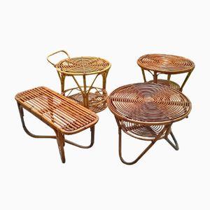 Tables Basse en Rotin de Pierantonio Bonacina, Italie, 1950s, Set de 4
