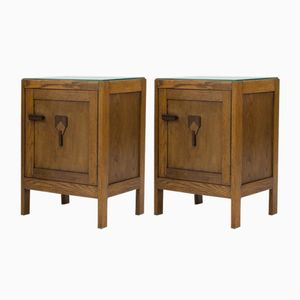 Art Deco Amsterdam School Nightstands, 1920s, Set of 2
