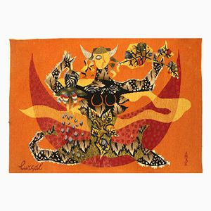 Vintage Virgo Zodiac Sign Tapestry by Jean Lurcat