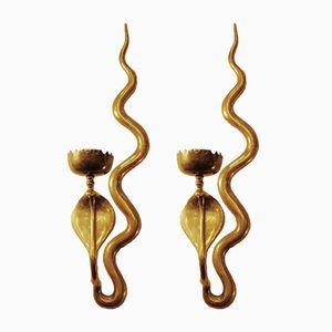 Vintage Brass Cobra Candelabras, Set of 2