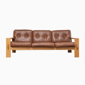 Vintage Bonanza Cognac Brown Leather Sofa by Esko Pajamies for Asko