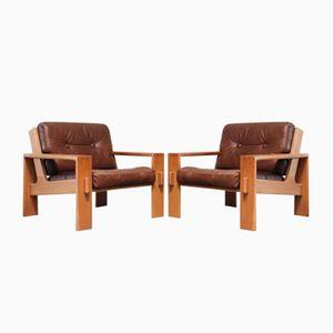 Vintage Bonanza Cognac Brown Leather Armchairs by Esko Pajamies for Asko, Set of 2