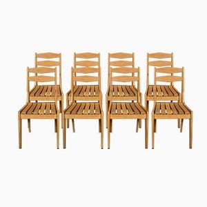 Stühle aus Heller Massiver Eiche von Guillerme et Chambron für Votre Maison, 1960er, 8er Set