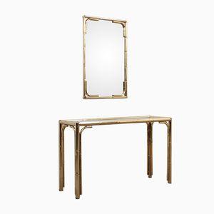 Table Console et Miroir Vintage en Faux Bambou et Laiton