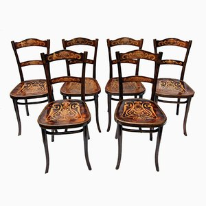 Antique Decorated Bentwood Dining Chairs From Thonet, Set Of 6