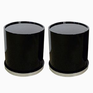 Ghost Lacquered Wooden Bedside Tables with Bar by Willy Rizzo, 1970s, Set of 2