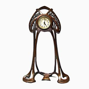Small Art Nouveau Copper Desk Clock, 1903