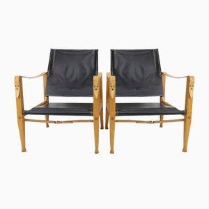 Schwarze Leder Safari Armlehnstühle von Kaare Klint für Rud. Rasmussen, 1950er, 2er Set