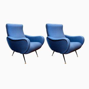 Blue Italian Armchairs, 1960s, Set of 2