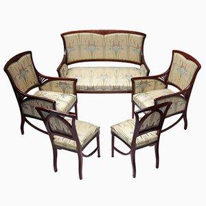 Mahagoni Jugendstil Sitzgruppe, 5er Set