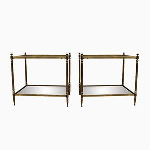 Brass & Glass Sofa Tables, 1950s, Set of 2