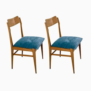 Italian Teak & Velvet Chairs, 1950s, Set of 2