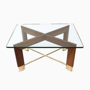 Italian Walnut & Glass Coffee Table, 1970s