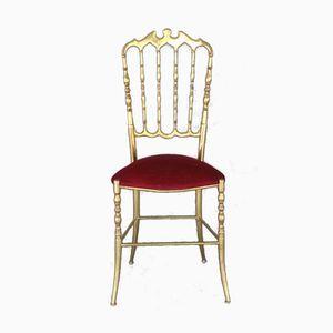Brass Chiavari Chair with Red Velvet Upholstery, 1960s
