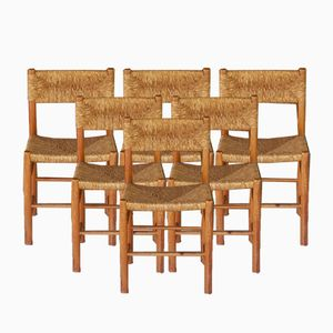 Woven Seat Dining Chairs, 1950s, Set of 6