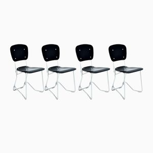Black Stacking Chairs by Armin Wirth for Aluflex, 1960s, Set of 4