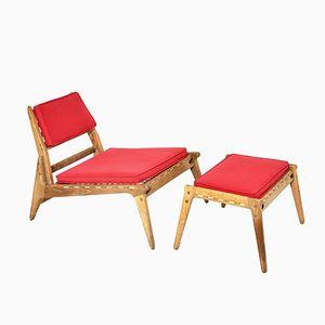 Vintage Stuhl und Ottoman aus Eichenholz