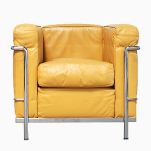 Vintage Yellow Model LC2 Leather Chair by Le Corbusier for Cassina