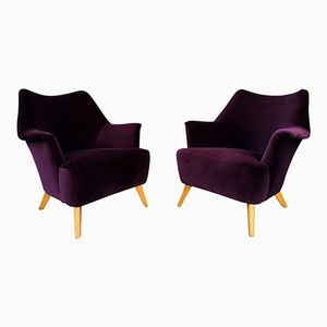 Violette Sessel aus Samt, 1950er, 2er Set
