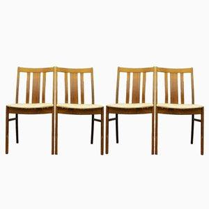 Schwedische Teak Stühle mit Beigen Sitzen, 1960er, 4er Set