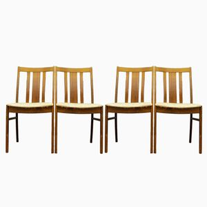 Swedish Teak Chairs with Beige Upholstery, 1960s, Set of 4