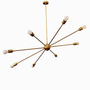Orbital Lamp with 9 Brass Arms by Juanma Lizana