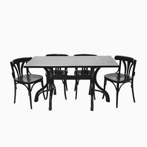Bugholz Tisch mit Vier Bugholz Stühlen von Thonet, 1980er