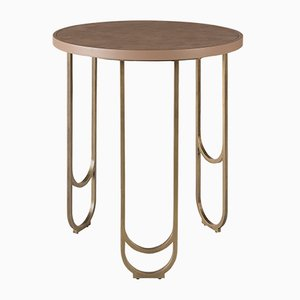 SU 50 Brass Table with a Leather Texture in Pink by 15 West Studio